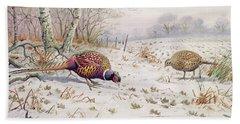 Pheasant And Partridge Eating  Beach Towel