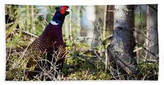 Pheasant In The Forest Beach Towel