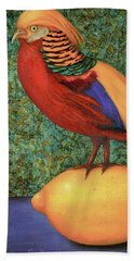 Beach Sheet featuring the painting Pheasant On A Lemon by Leah Saulnier The Painting Maniac