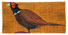 Pheasant On An Eggplant Beach Towel