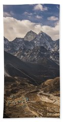 Beach Towel featuring the photograph Pheriche In The Valley by Mike Reid