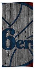 Philadelphia 76ers Wood Fence Beach Towel