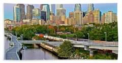 Philadelphia At Dusk Beach Towel by Frozen in Time Fine Art Photography