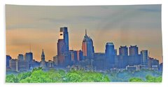 Philadelphia At Sunrise Beach Towel by Bill Cannon