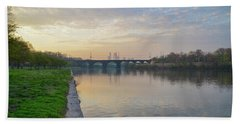Beach Sheet featuring the photograph Philadelphia Cityscape From The Schuylkill In The Morning by Bill Cannon