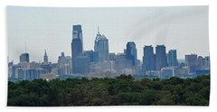 Philadelphia Green Skyline Beach Towel by Ian  MacDonald