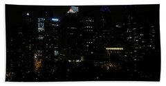 Philadelphia Night Lights Beach Towel by Rona Black