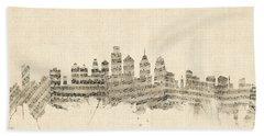 Philadelphia Pennsylvania Skyline Sheet Music Cityscape Beach Towel
