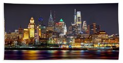 Philadelphia Philly Skyline At Night From East Color Beach Sheet