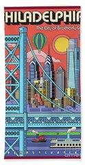 Philadelphia Pop Art Travel Poster Beach Towel