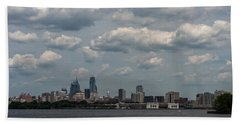 Philadelphia Skyline Across The Delaware River Beach Towel by Terry DeLuco