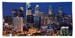 Philadelphia Skyline At Night Beach Sheet