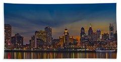 Philadelphia Skyline Panorama Beach Sheet by Susan Candelario