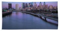 Philadelphia Skyline Pastels Beach Sheet by Susan Candelario