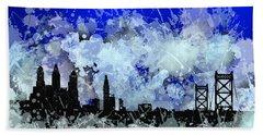 Beach Towel featuring the digital art Philadelphia Skyline.1 by Alberto RuiZ