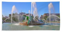 Beach Towel featuring the photograph Philadelphia - Swann Fountain At Logan Square by Bill Cannon