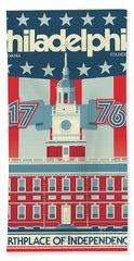 Philadelphia Vintage Travel Poster Beach Sheet