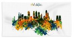 Philadelphia Watercolor Skyline Beach Towel
