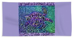 Beach Towel featuring the digital art Phillis The Turtle by Erika Swartzkopf