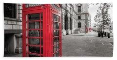 Phone Booths In London Beach Towel