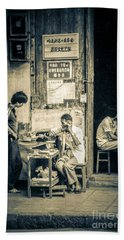 Beach Towel featuring the photograph Phonecall On Chinese Street by Heiko Koehrer-Wagner