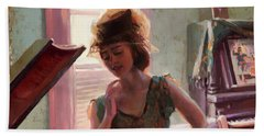 Beach Towel featuring the painting Phonograph Days by Steve Henderson
