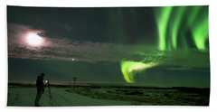 Beach Towel featuring the photograph Photographer Under The Northern Light by Dubi Roman
