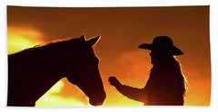 Cowgirl Sunset Sihouette Beach Towel