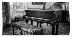 Beach Towel featuring the photograph Piano At Josie's House Bw by Joan Carroll
