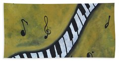 Piano Music Abstract Art By Saribelle Beach Towel by Saribelle Rodriguez