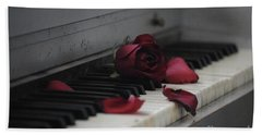 Piano With Vintage Rose Beach Towel