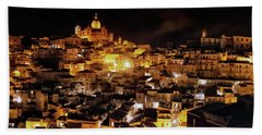 Piazza Armerina At Night Beach Towel
