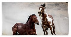 Picasso - Wild Stallion Battle Beach Towel by Nadja Rider