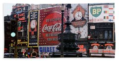 Piccadilly Circus, London, 1940's Beach Towel