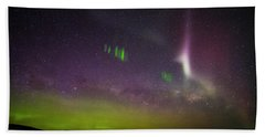 Beach Towel featuring the photograph Picket Fences And Proton Arc, Aurora Australis by Odille Esmonde-Morgan