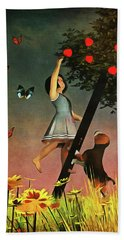 Picking Apples Together Beach Towel