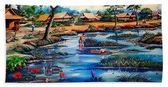 Picking Lotus Flowers Beach Towel by Ian Gledhill