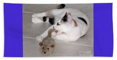 Beach Towel featuring the photograph Pico And Toy Mouse by Phyllis Kaltenbach