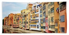 Picturesque Buildings Along The River In Girona, Catalonia Beach Towel