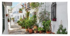Picturesque Narrow Street Decorated With Plants Beach Towel