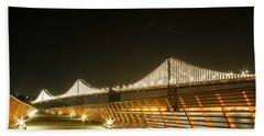 Pier 14 And Bay Bridge Lights Beach Towel