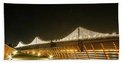 Pier 14 And Bay Bridge Lights Beach Towel
