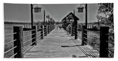 Pier At Fort Wilderness In Black And White Walt Disney World Mp Beach Towel