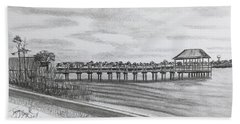 Pier At Goose Creek  Beach Towel