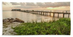 Pier At Sunrise Beach Towel