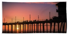 Pier At Sunset Beach Towel
