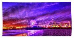 Pier Of Lights Beach Sheet by Midori Chan