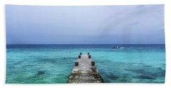 Pier On Caribbean Sea With Boat Beach Sheet