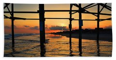 Oak Island Pier Sunset Beach Towel