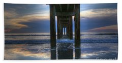 Pier View At Dawn Beach Sheet by Myrna Bradshaw